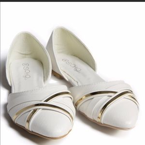 Shoes - White flats with gold detailing